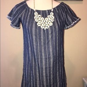 Charlotte Russe denim stripe mini distressed dress
